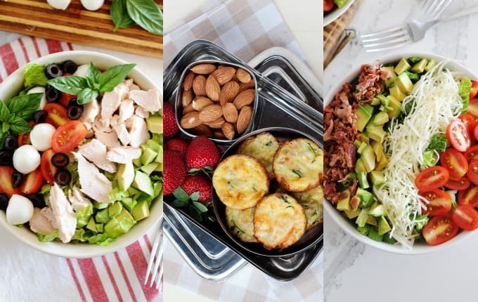 image: three side by side images of clean lunch options