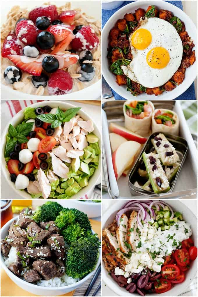 image: collage of six clean meals