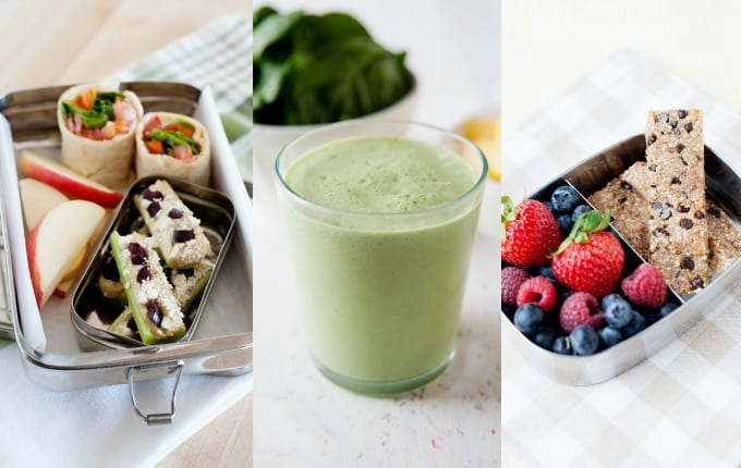 image: three side by side photos of clean eating snacks