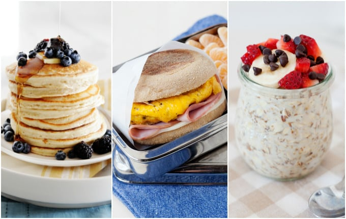image: photo collage of three breakfast images. Pancakes, breakfast sandwich and overnight oats