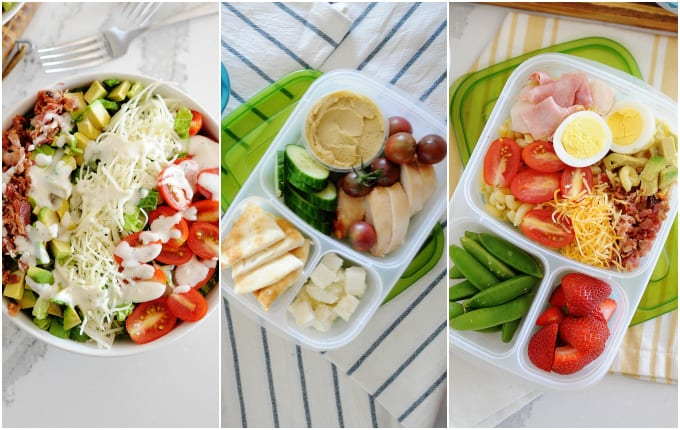 image: photo collage of three lunch ideas. salad, healthy bento box and cobb pasta salad with snow peas and strawberries