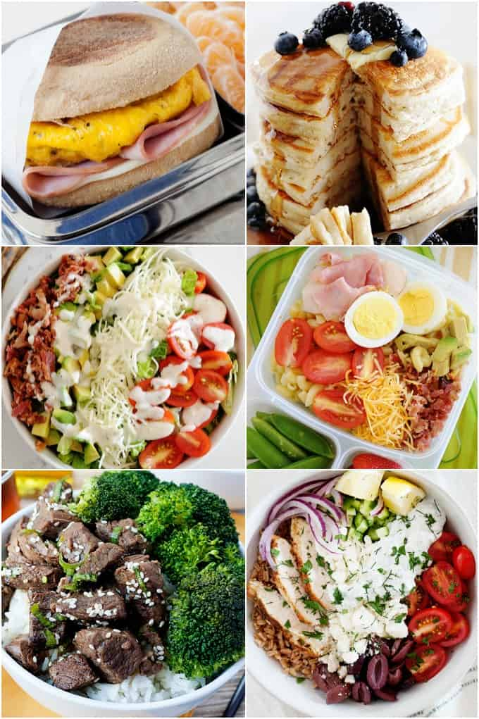 image: collage of six square recipe images for breakfast, lunch and dinner