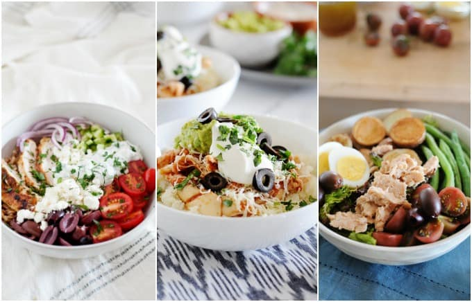 image: side by side collage of three clean lunches in white bowls
