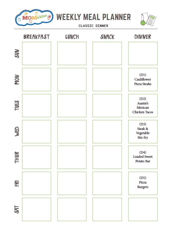 image: Weekly Meal Prep printable