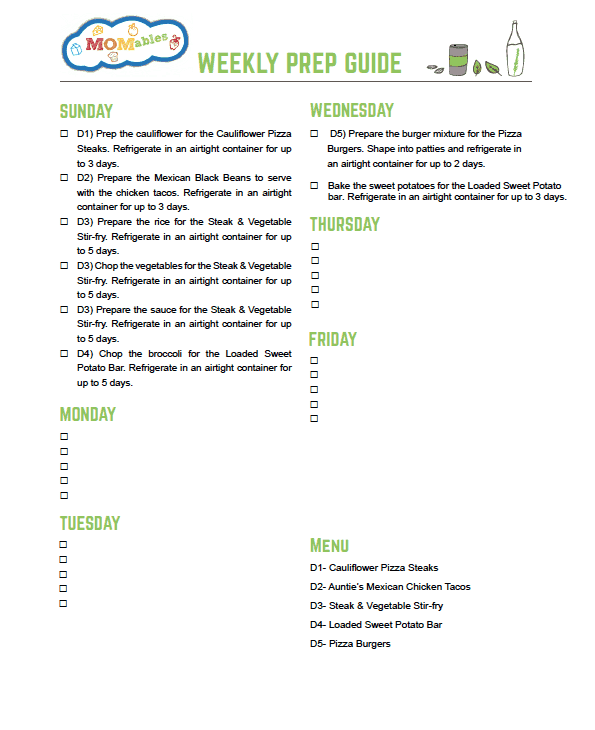 image: weekly meal prep guide printable