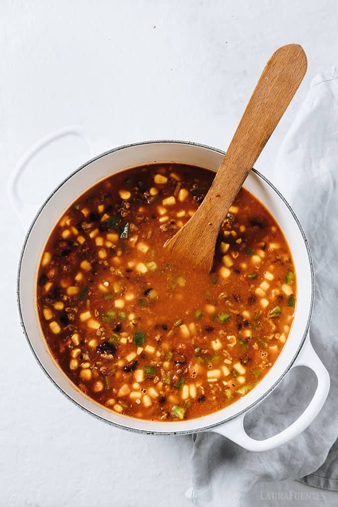 image: in-process shot of taco soup cooking in a large soup pot.