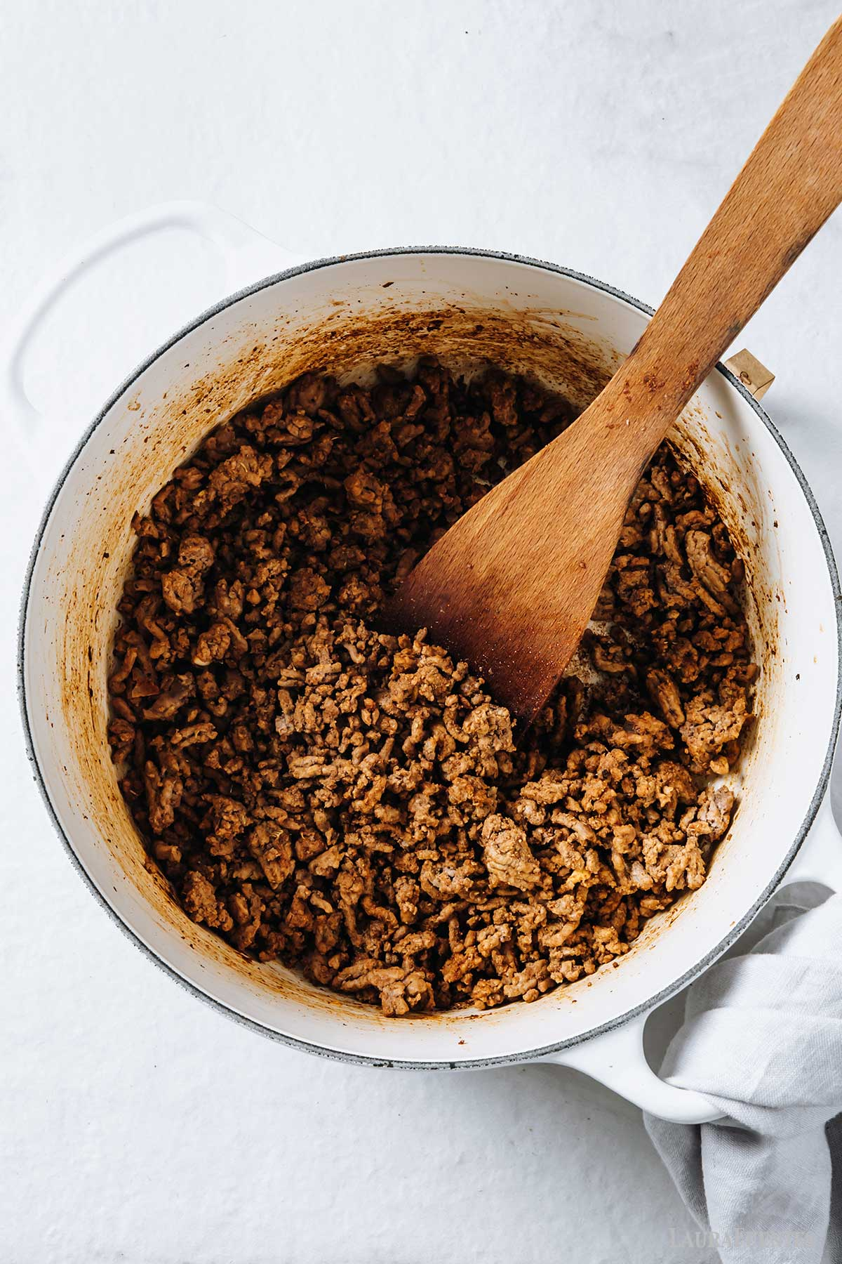 large pot of browned meat