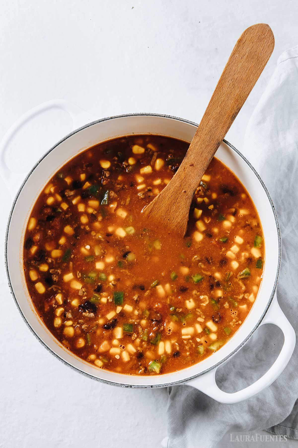 large pot of taco soup, overhead view