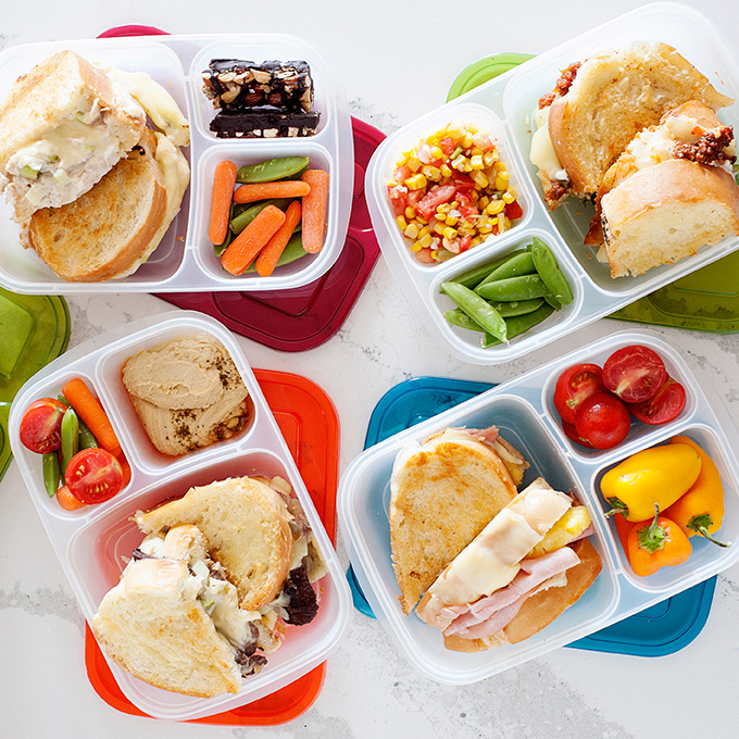 grilled cheese sandwiches in lunch containers