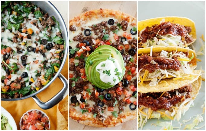 image: three side by side images of ground beef taco recipes
