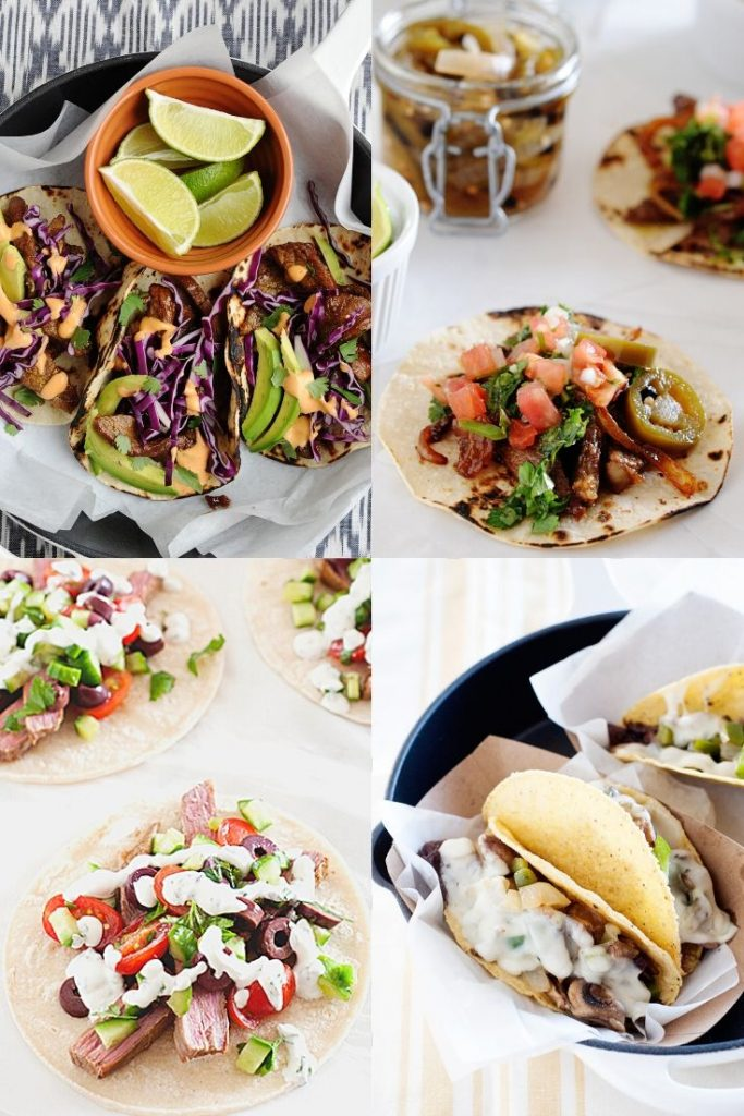 image: collage of four different ways to prepare steak tacos.