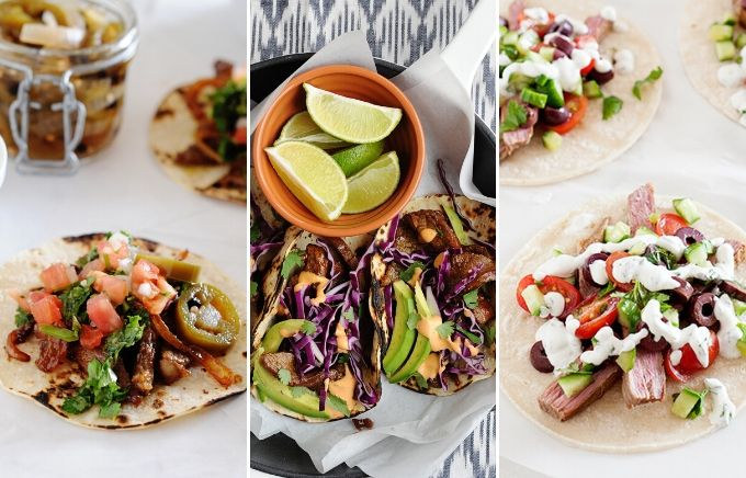 image: three side by side images showing the different ways to make tacos using skirt steak.