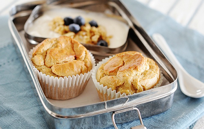 image: grain free banana muffins in a lunch tin