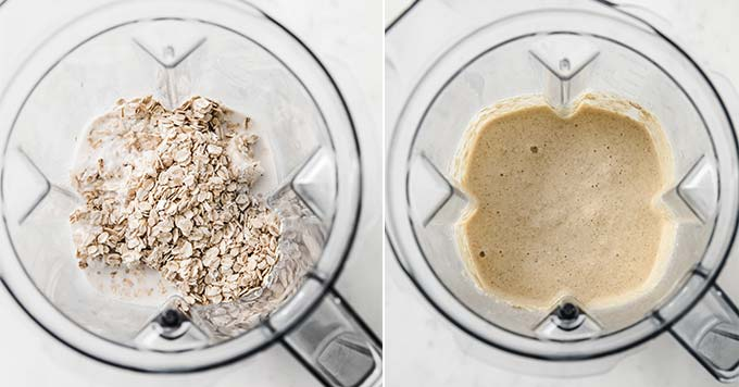 image: side by side photos of oats and milk in a blender and blended oats in the same blender.