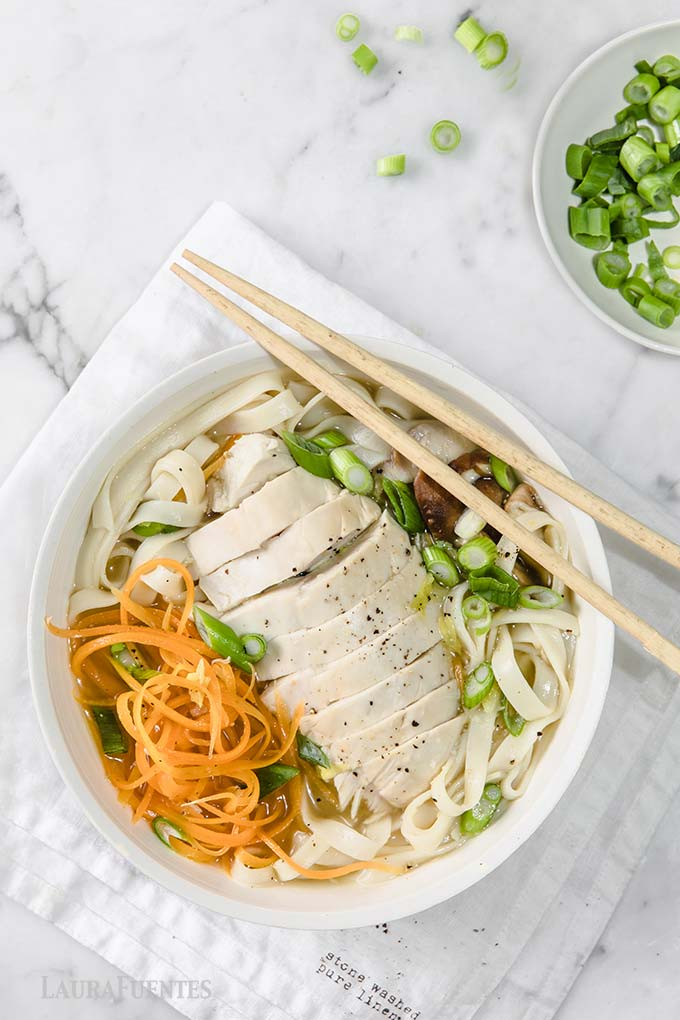 image: bowl of udon soup with sliced chicken breast on top. Served with chopsticks.