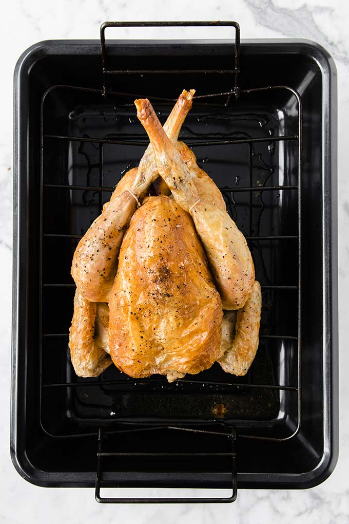 image: whole red chicken, roasted in a black roasting pan.
