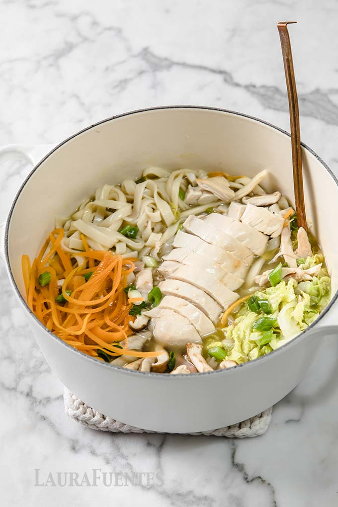 image: large pot of chicken udon soup with ladle