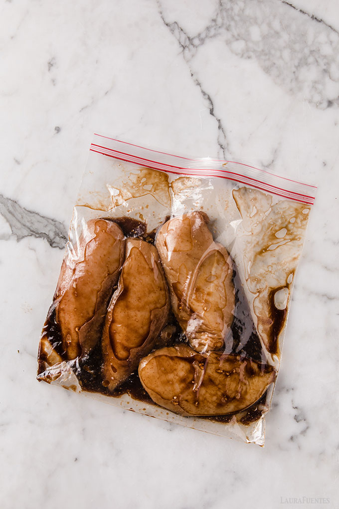 image: four chicken breasts in a zip bag with Korean Marinade sauce
