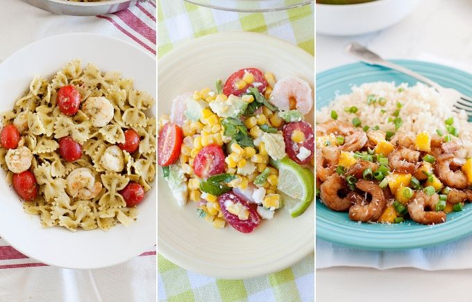 image collage: three photos of different shrimp dinners on plates