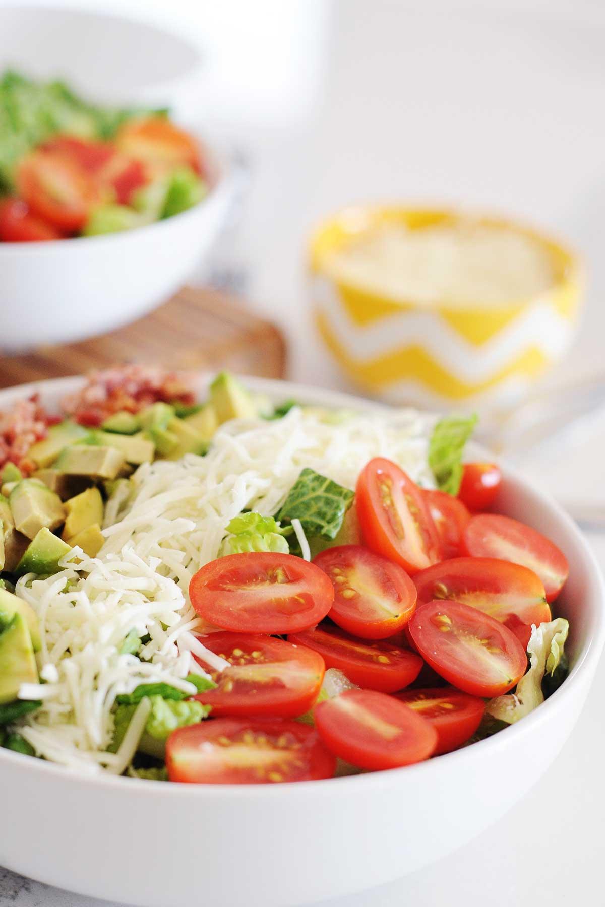 side view of large bowl of BLT salad