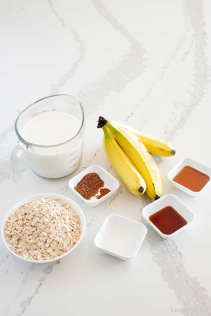 image: ingredients on the counter for banana overnight oats