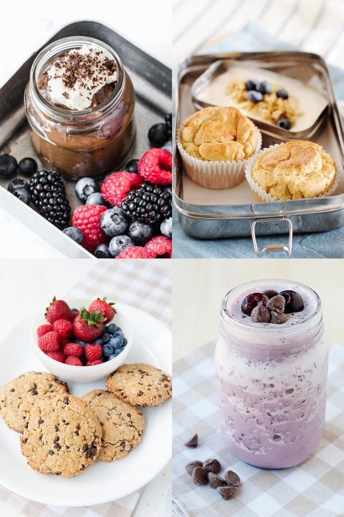 image collage of 4 healthy dessert options, including cookies, muffins, chocolate pudding and a smoothie.