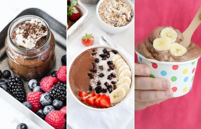 image collage: three side by side images of chocolate desserts.