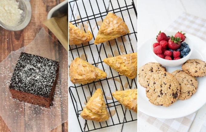 image collage, three side by side photos of paleo desserts including square slice of chocolate cake, six pumpkin scones on a tray and a plate of breakfast cookies.