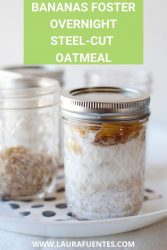 Image: a jar of bananas foster overnight oats