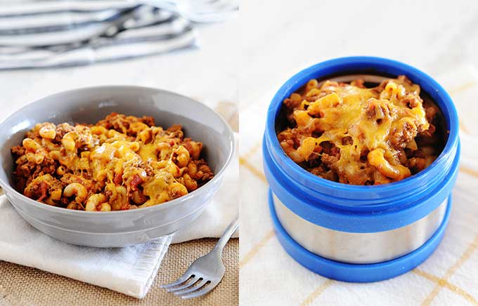 image: beef goulash in a bowl and thermos container