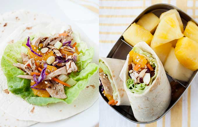 image: Asian chicken salad on lettuce in a tortilla on the left on a plate and Asian chicken salad in a wrap on the right with pineapple.