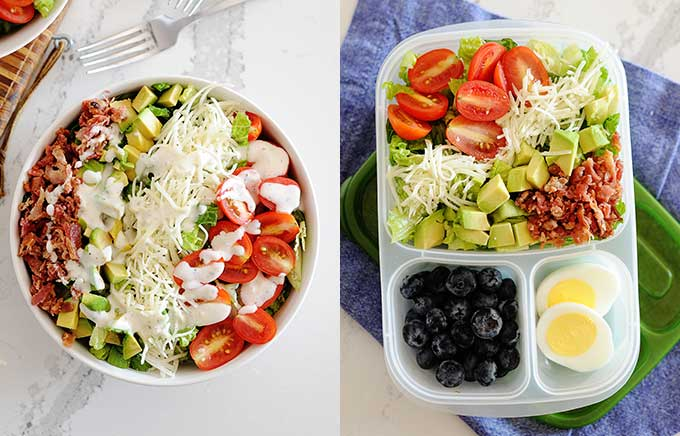 image: big bowl of salad topped with bacon, tomatoes, avocado and the same salad packed in a lunch container with hard boiled eggs on the side.