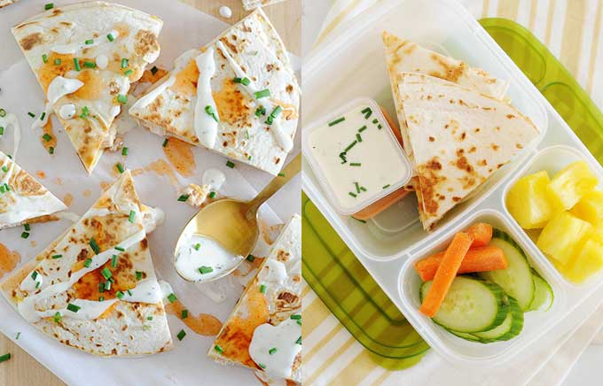 img: buffalo quesadilla with drizzled ranch and quesadilla inside a lunchbox with veggies.