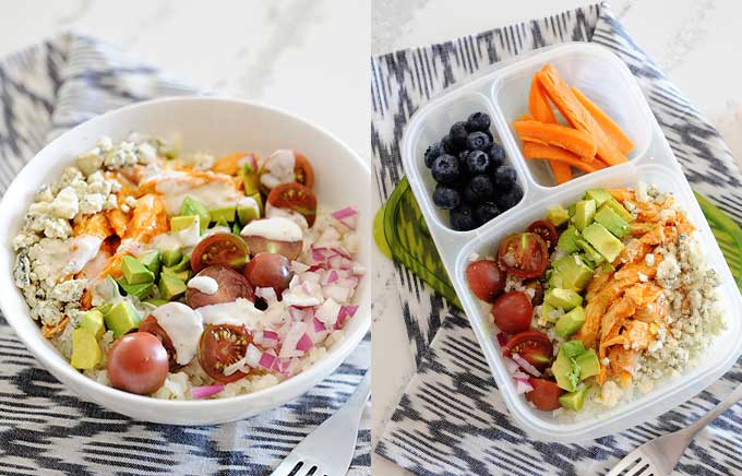 image: power bowl topped with buffalo chicken, blue cheese, avocado, tomatoes, onions. Same ingredients inside a lunch container.