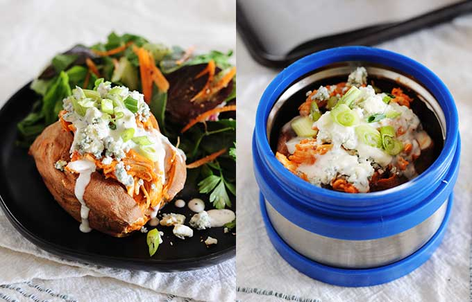 img: buffalo chicken topped sweet potato with cheese and ranch on a plate and inside a thermos container.