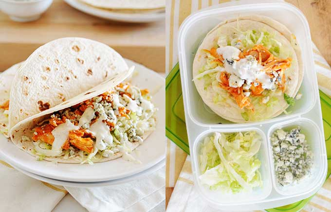 image: buffalo chicken tacos on a plate and in a lunchbox.