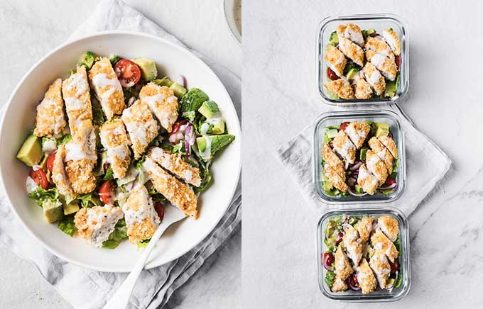 image: breaded chicken over a salad in a bowl on the left and the same salad in meal prep containers.