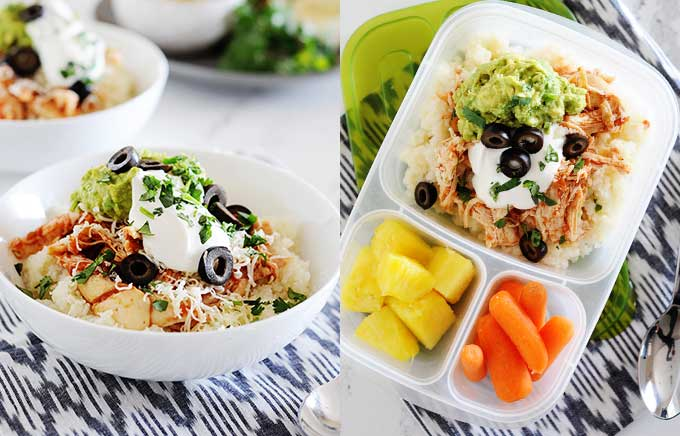 image: chicken burrito bowl on the left and the same ingredients in a lunchbox on the right.
