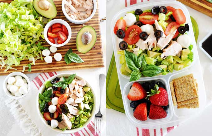 image: bowl of chicken caprese salad and ingredients and the salad packed in a lunch box with strawberries on the right.