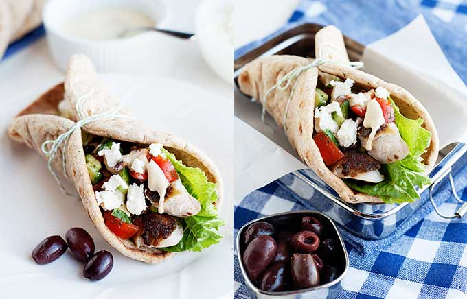 image: roasted chicken and lettuce inside a flatbread on a plate and the same flatbread sandwich shown in a lunchbox.