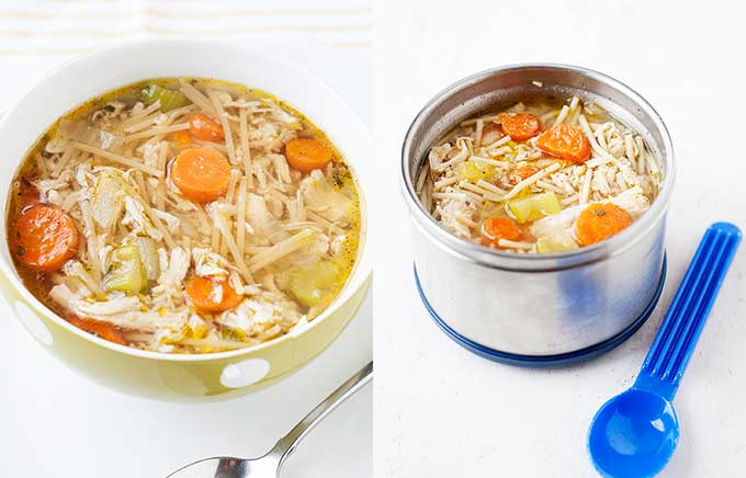 image: chicken noodle soup in a bowl and the same soup inside a thermos next to a spoon.