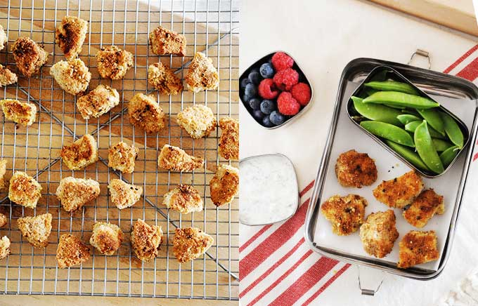 image: chicken nuggets on a cooling rack and in a small lunchbox.