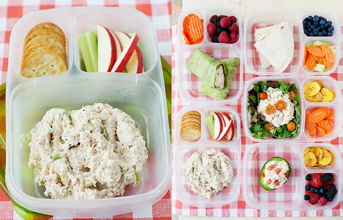 img: chicken salad in a lunch container and chicken salad in a variety of lunches like salads, wraps, avocado.