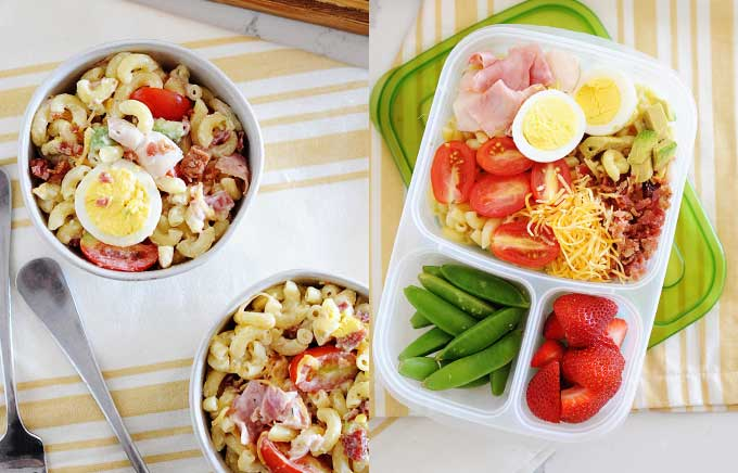 img: cobb pasta salad in a bowl and in a lunch container.