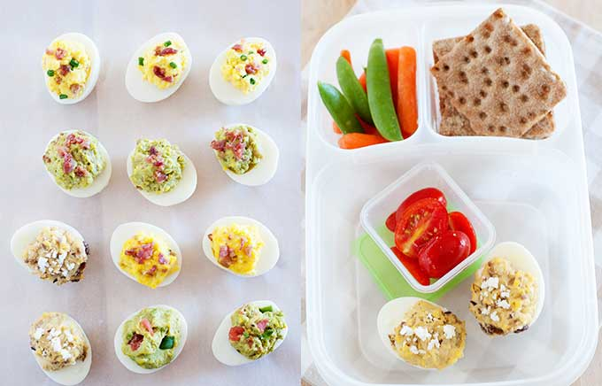 image: variety of deviled eggs on the left and deviled eggs in a lunchbox with crackers and veggies.