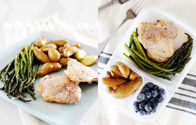 img: baked chicken thighs with asparagus and potatoes on a plate and inside a lunch container side by side.
