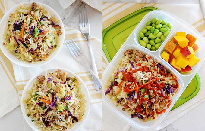 image: bowls of shredded cabbage on left and the same egg roll stuffing in a lunch container on right.