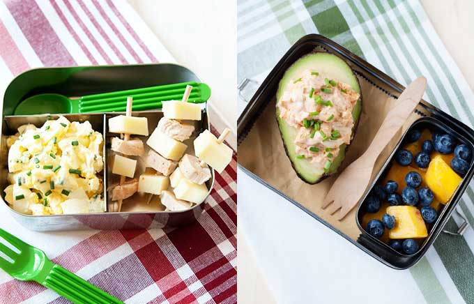 egg salad in a lunch container with turkey and cheese and the same egg salad stuffed inside an avocado in a lunchbox.