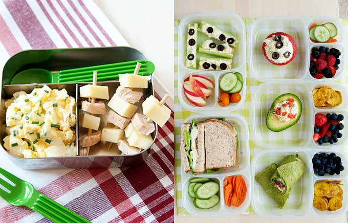 img: egg salad in a lunchbox and egg salad in a few lunchboxes with fruit and veggies.