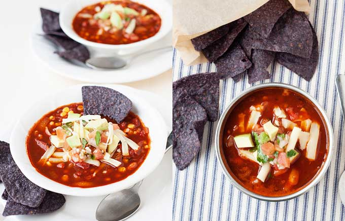 image: enchilada soup in a bowl with blue corn tortillas. Same soup inside a thermos container and the tortillas in a bag.